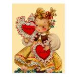 Amor de los corazones del vintage tarjeta postal