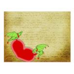 Amor de los dragones lettar tarjeta postal