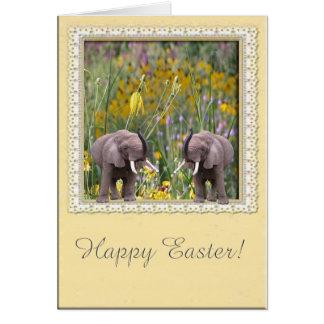 Amor de los elefantes al jardín tarjeta de felicitación