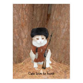 Amor de los gatos a cazar tarjetas postales