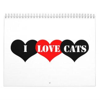 Amor de los gatos calendarios de pared