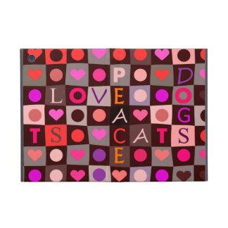 Amor de los gatos de los perros de los corazones iPad mini protectores