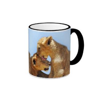 Amor de los leones del bebé taza de dos colores