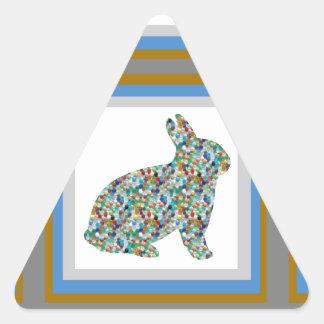 AMOR DE LOS NIÑOS CONEJO lindo como mascota Pegatina De Triangulo