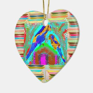 Amor de los NIÑOS: Loros pintados Adorno De Cerámica En Forma De Corazón