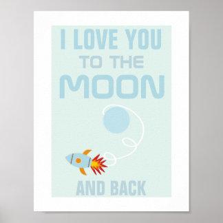 Amor de los niños usted al poster de la luna póster