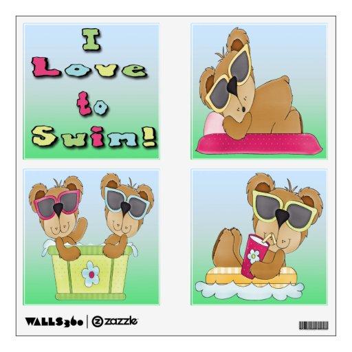 Amor de los osos de peluche I para nadar la etique