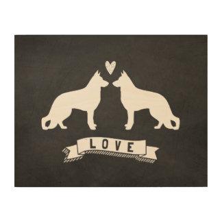 Amor de los pastores alemanes - siluetas del perro impresiones en madera
