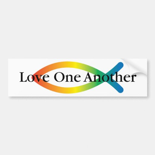 Amor de los pescados de arco iris etiqueta de parachoque