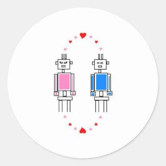 Amor de los robots pegatinas redondas