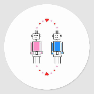 Amor de los robots pegatina redonda