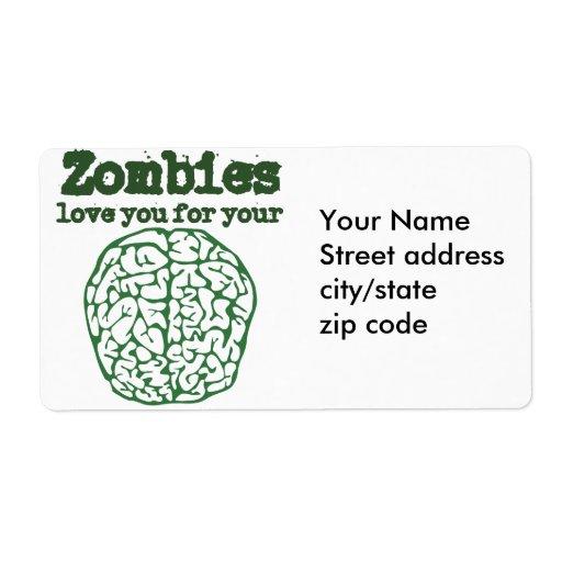 Amor de los zombis usted para su CEREBRO Etiquetas De Envío