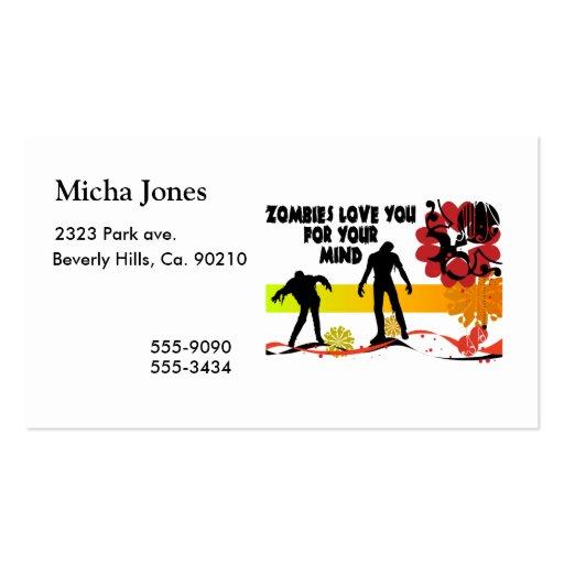 Amor de los zombis usted para su mente tarjetas de visita