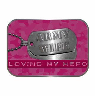 Amor de mi esposa del ejército del héroe llavero fotográfico