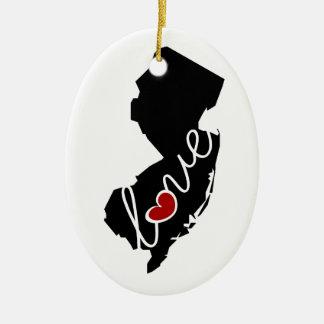 ¡Amor de New Jersey!  Regalos para los amantes de Adorno Navideño Ovalado De Cerámica