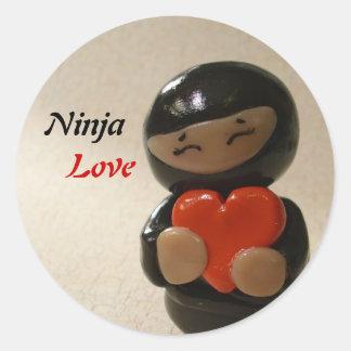 Amor de Ninja Pegatina Redonda