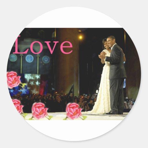 Amor de Obama-Michelle Pegatina Redonda