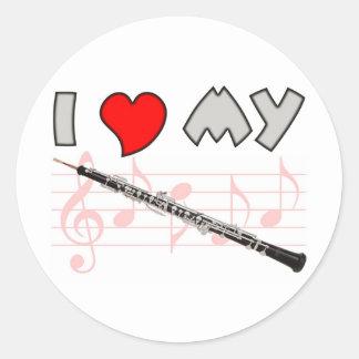 Amor de Oboe Pegatina Redonda