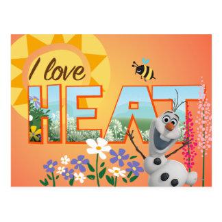 Amor de Olaf I el calor Tarjeta Postal