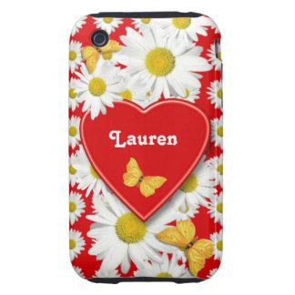 Amor de oro del jardín de la margarita de las carcasa resistente para iPhone