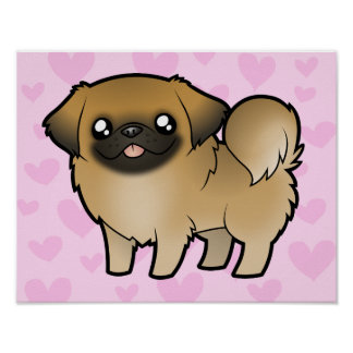 Amor de Pekingese (perrito cortado) Póster