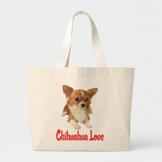 Amor de pelo largo del rojo del perro de perrito bolsa de tela grande