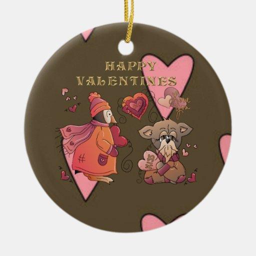 Amor de Peng y del chucho Ornamento De Navidad
