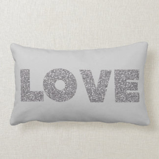 Amor de plata del brillo almohadas