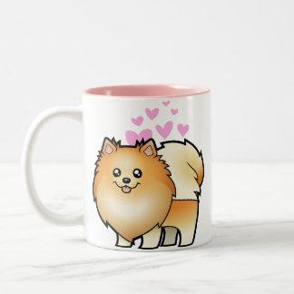 Amor de Pomeranian Taza De Dos Tonos