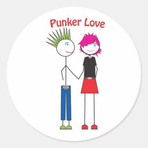 Amor de Punker Pegatina Redonda