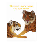 Amor de Purrfect de los tigres Postal