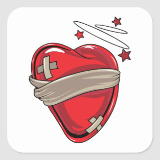 Amor de reparación de los corazones quebrados del pegatina cuadradas personalizada