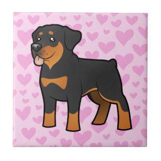 Amor de Rottweiler Azulejo Cuadrado Pequeño