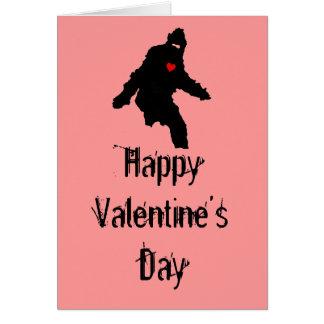 Amor de Sasquatch El día de San Valentín feliz Felicitaciones