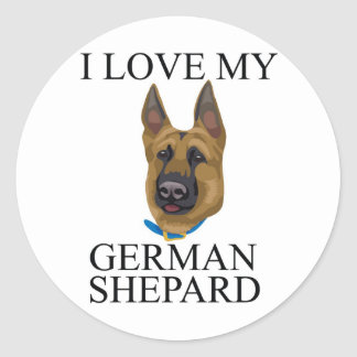 Amor de Shepard del alemán Pegatina Redonda