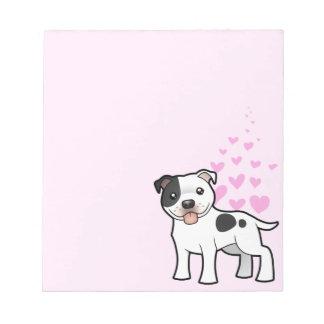Amor de Staffordshire bull terrier Blocs De Notas