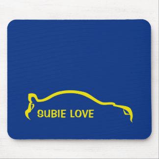 Amor de Subie - reunión del mundo azul y amarilla Tapetes De Ratones