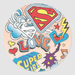Amor de Supergirl Pegatina Redonda