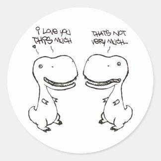 Amor de T-rex Pegatina Redonda