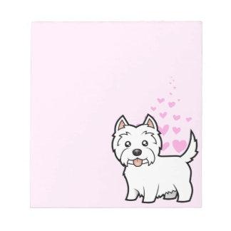 Amor de Terrier blanco de montaña del oeste Blocs De Notas