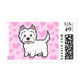 Amor de Terrier blanco de montaña del oeste Estampilla