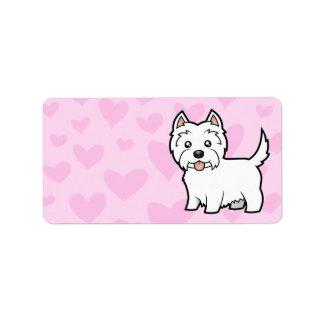 Amor de Terrier blanco de montaña del oeste Etiqueta De Dirección
