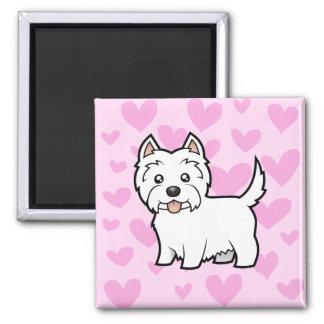 Amor de Terrier blanco de montaña del oeste Imán Cuadrado