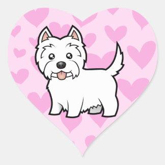 Amor de Terrier blanco de montaña del oeste Pegatina En Forma De Corazón