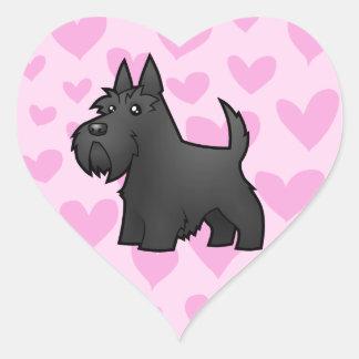Amor de Terrier del escocés Pegatina En Forma De Corazón