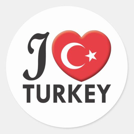 Amor de Turquía Pegatina Redonda