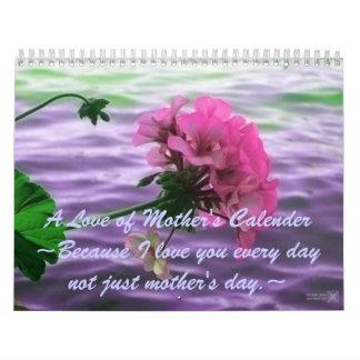 Amor de un calendario de la madre