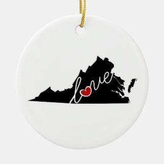 ¡Amor de Virginia!  Regalos para los amantes del Adorno Navideño Redondo De Cerámica