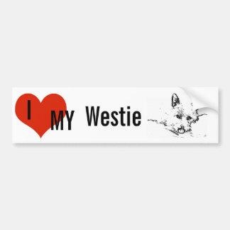 Amor de Westies, dibujo blanco y negro Etiqueta De Parachoque