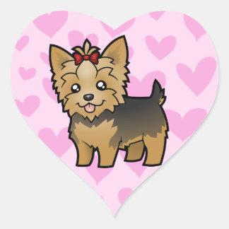 Amor de Yorkshire Terrier (pelo corto con el arco) Pegatina En Forma De Corazón